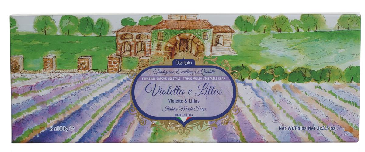Iteritalia Мыло натуральное косметическое с оливковым маслом в подарочной упаковке ,аромат фиалки и сирени 3*100 гр.7724Высококачественное натуральное растительное мыло коллекции Цветы Италии, обогащенное оливковым маслом, обладает питательным, увлажняющим и успокаивающим свойствами, имеет тонкий, изысканный аромат фиалки и сирени. Подходит для всех типов кожи.