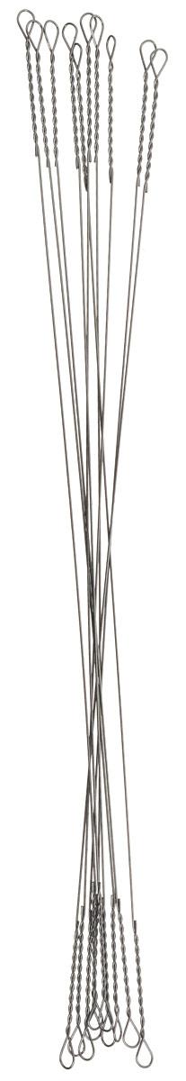 Поводок рыболовный Yoshi Onyx Wire Leader String, 0,275 мм, 10 см, 10 штH009Поводки Yoshi Onyx надежны, быстро монтируются и могут достойно противостоять щучьим атакам, не давая хищнику срезать приманку. Такие поводки отлично сработают и при проведении объемных приманок через заросли и кувшинки, при анимации крупных джерков или мягкой резины. С одинаковой вероятностью на приманку, оснащенную тонким струнным поводком, может пойматься и щука, и голавль, и жерех с язем. Отсутствие слабых звеньев исключает возможность схода хищника. Большинство рыболовов применяет поводок-струну и вовсе без дополнительной оснастки. Крепления при таком способе производятся методом скрутки. Для монтажа приманки просто нужно раскрутить косичку. Следует с вниманием отнестись при подобном креплении поводка к плетеному шнуру - если диаметр струны будет меньше диаметра шнура, то велика вероятность, что поводок будет резать плетенку.