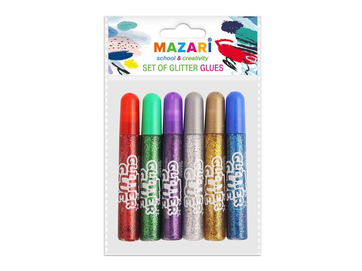 Mazari Гель-краски с блестками 6 цветов 10 млМ-4Гель-краски Mazari с блестками для детского творчества - это оригинальный материал для декорирования рисунков, стенгазет или каких-то подделок. Также предназначены для художественных работ по любым видам поверхностей. Не содержат вредных для здоровья компонентов.