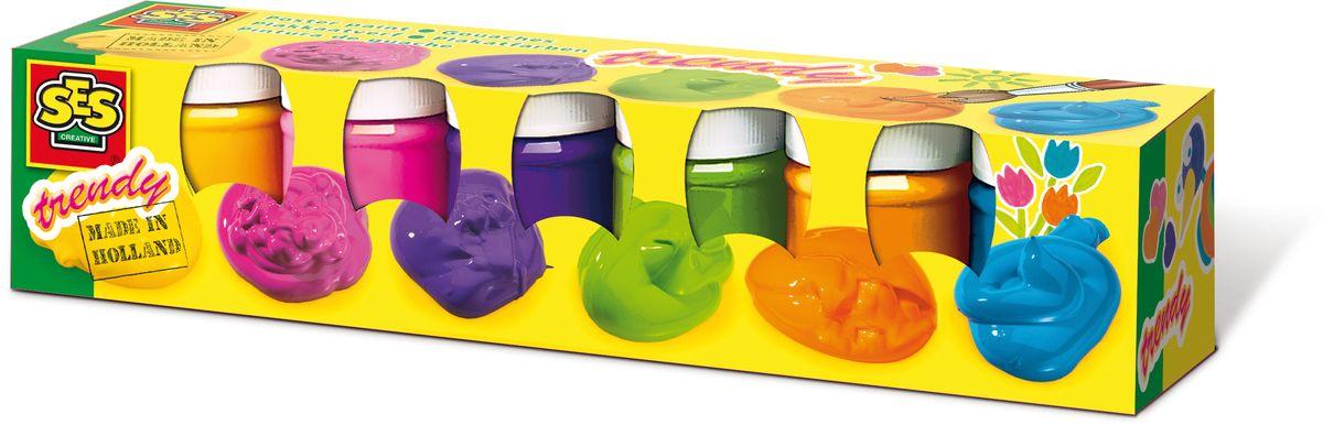 SES-Creative Гуашь плакатная Яркая 6 цветовFS-54103Гуашь SES-Creative прекрасно подойдет для занятий творчеством.Краска отлично ложится на бумагу, картон, а также на грунтованный холст.При высыхании приобретает бархатистую, матовую поверхность.В набор входят 6 баночек гуаши ярких цветов по 50 мл (желтый, розовый, фиолетовый, зеленый, оранжевый, голубой). Краска прекрасно смывается с рук и отстирывается с большинства видов такни.Для детей от 3 лет.