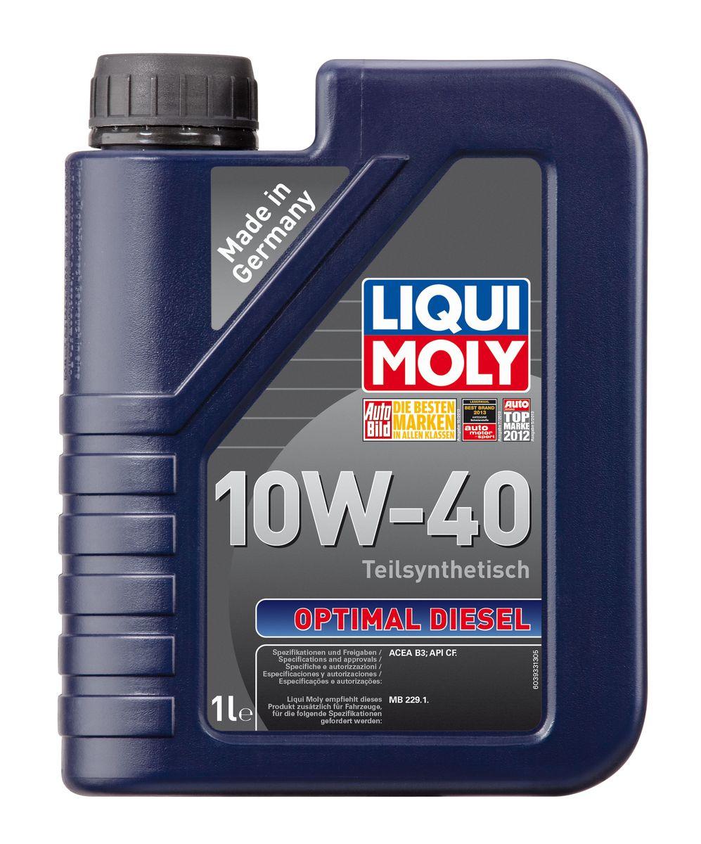 Масло моторное Liqui Moly Optimal Diesel, полусинтетическое, 10W-40, 1 л3933Масло моторное Liqui Moly Optimal Diesel - это полусинтетическое моторное масло специально для дизельных двигателей с адаптированным для российских условий пакетом присадок. Удовлетворяет современным международным стандартам API/ACEA. Подходит для широкого круга дизельных иномарок предыдущих поколений. В моторном масле используются синтетические и минеральные базовые компоненты, отличающиеся высокими защитными свойствами. Масло обеспечивает высокий уровень защиты от износа и гарантирует стабильное поступление масла ко всем деталям двигателя. Особенности: - Специальная формула для дизельных двигателей без сажевого фильтра - Надежная защита от износа - Низкий расход масла - Оптимальная чистота двигателя