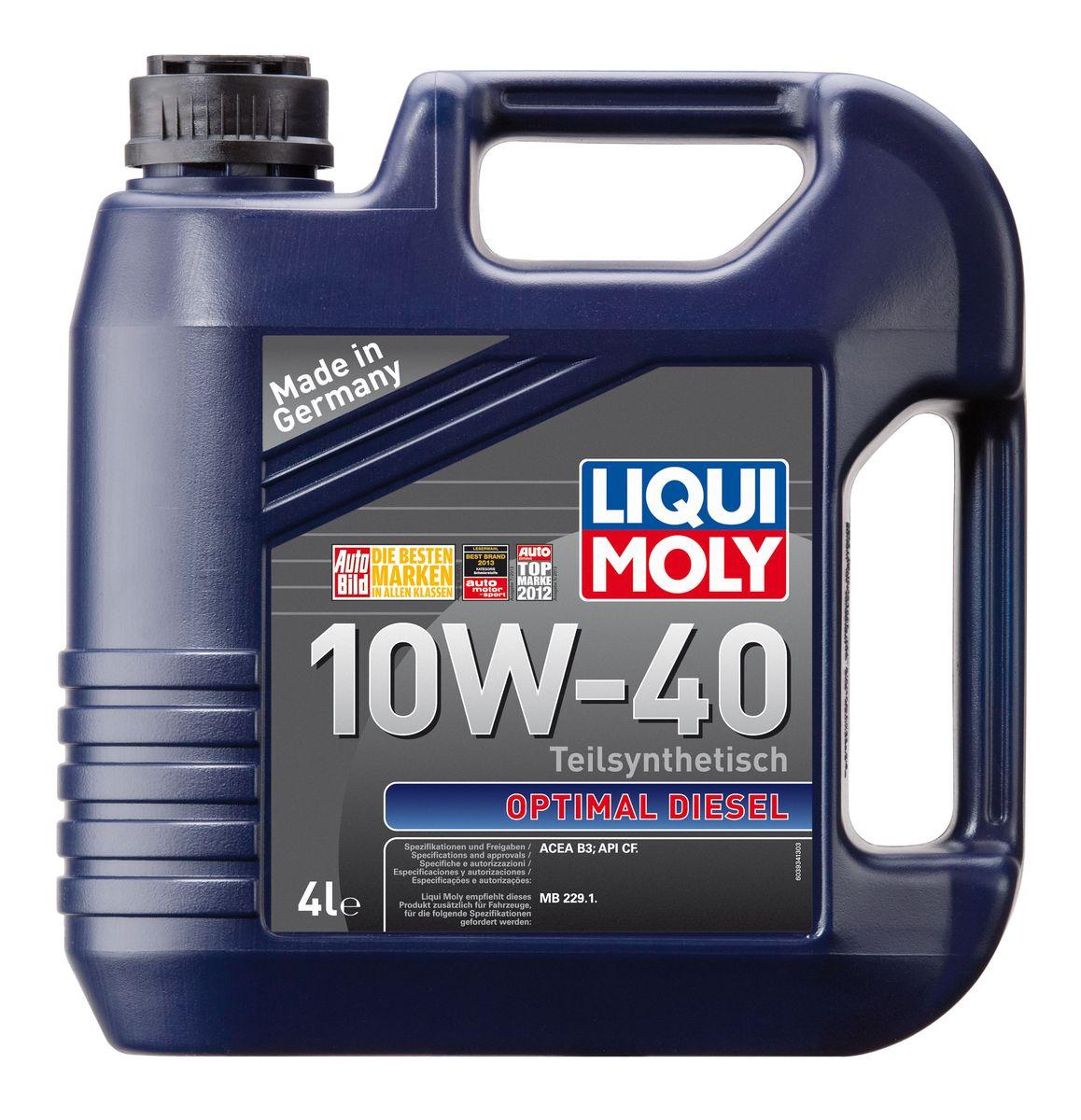 Масло моторное Liqui Moly Optimal Diesel, полусинтетическое, 10W-40, 4 л2706 (ПО)Масло моторное Liqui Moly Optimal Diesel - это полусинтетическое моторное масло специально для дизельных двигателей с адаптированным для российских условий пакетом присадок. Удовлетворяет современным международным стандартам API/ACEA. Подходит для широкого круга дизельных иномарок предыдущих поколений. В моторном масле используются синтетические и минеральные базовые компоненты, отличающиеся высокими защитными свойствами. Масло обеспечивает высокий уровень защиты от износа и гарантирует стабильное поступление масла ко всем деталям двигателя.Особенности: - Специальная формула для дизельных двигателей без сажевого фильтра- Надежная защита от износа- Низкий расход масла- Оптимальная чистота двигателя