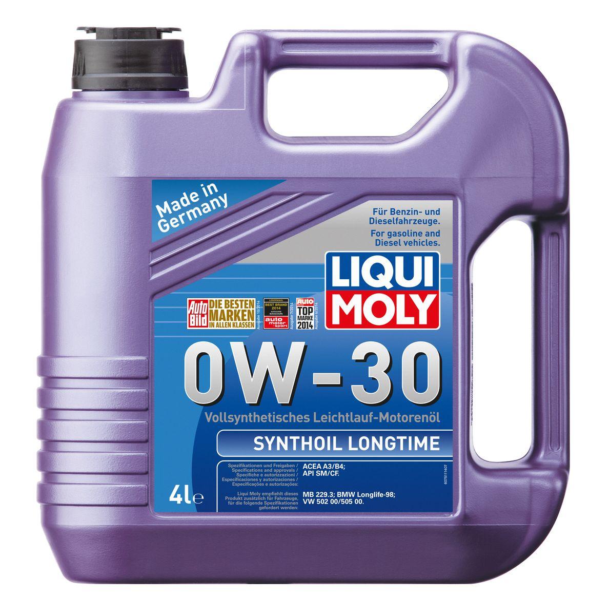 Масло моторное Liqui Moly Synthoil Longtime, синтетическое, 0W-30, 4 л7511Масло моторное Liqui Moly Synthoil Longtime - 100% синтетическое универсальное моторное масло на базе полиальфаолефинов (ПАО) для большинства автомобилей, для которых требования к маслам опираются на международные классификации API и ACEA. Класс вязкости 0W-30 моторного масла на ПАО-базе оптимален для эксплуатации в холодных условиях, обеспечивая уверенный пуск двигателя даже в сильный мороз и высокий уровень энергосбережения (и экономии топлива). Особенности: - Отличные пусковые свойства в мороз - Быстрое поступление масла ко всем деталям двигателя при низких температурах - Высокие показатели по экономии топлива - Высокая смазывающая способность - Замечательная термоокислительная стабильность и устойчивость к старению - Оптимальная чистота двигателя - Протестировано и совместимо с катализаторами и турбонаддувом - Высокая стабильность при высоких температурах - Очень низкий расход масла Допуск: -API: CF/SM ...