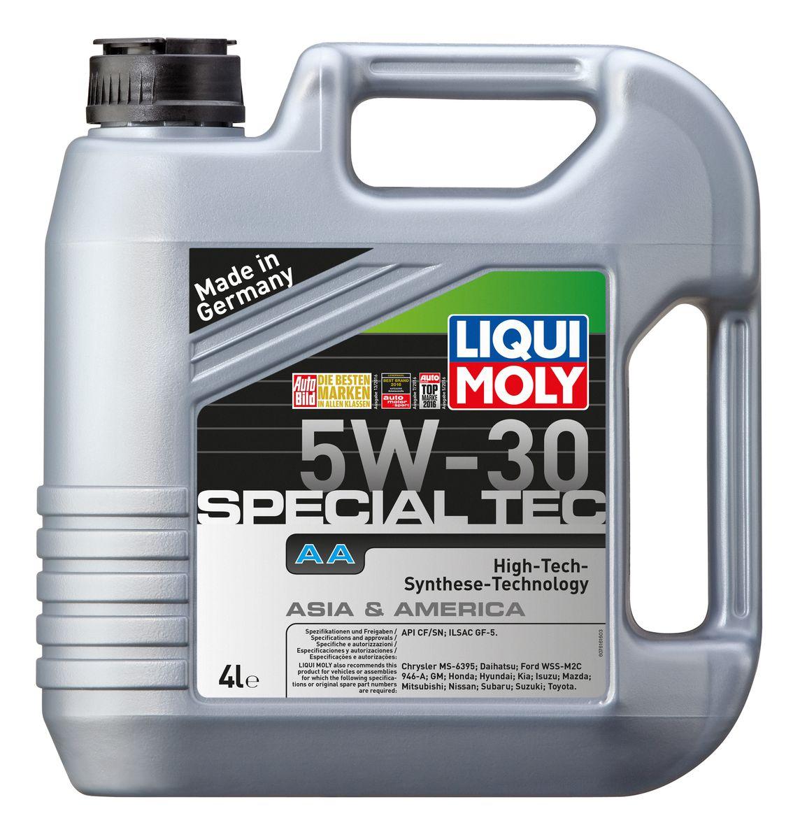 Масло моторное Liqui Moly Special Tec AA, НС-синтетическое, 5W-30, 4 л6280LKМасло моторное Liqui Moly Special Tec AA рекомендуется для автомобилей Honda, Mazda, Mitsubishi, Nissan, Daihatsu, Hyundai, Kia, Isuzu, Suzuki, Toyota, Subaru, Ford, Chrysler, GM. Современное HC-синтетическое энергосберегающее моторное масло специально разработано для всесезонного использования в большинстве двигателей современных американских и азиатских бензиновых автомобилей. Базовые масла, полученные по технологии синтеза, и новейшие присадки составляют рецептуру моторного масла с отменной защитой от износа, снижающего расход топлива и масла, обеспечивающего чистоту двигателя и максимально быстрое поступление к трущимся деталям. Особенности: - Быстрое поступление масла ко всем деталям двигателя при низких температурах- Высочайшие показатели топливной экономии- Сокращает эмиссию выхлопных газов- Отличная чистота двигателя- Совместимо с новейшими системами нейтрализации отработавших газов бензиновых двигателей- Высокая защита от износа и надежность смазывания- Очень низкие потери масла на испарениеМоторное масло Special Tec АА 5W-30 соответствует специальным требованиям азиатских и американских производителей, поэтому его использование позволяет сохранить все гарантийные условия при прохождении ТО соответствующих автомобилей. Допуск: -API: SN/CF-ILSAC: GF-5