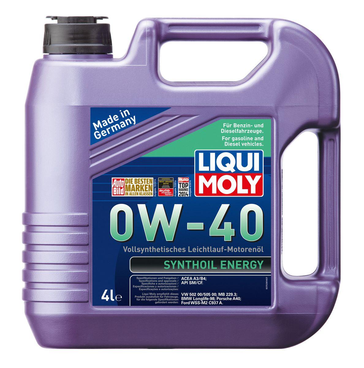 Масло моторное Liqui Moly Synthoil Energy, синтетическое, 0W-40, 4 л6280LKМасло моторное Liqui Moly Synthoil Energy - 100% синтетическое универсальное моторное масло на базе полиальфаолефинов (ПАО) для большинства автомобилей, для которых требования к маслам опираются на международные классификации API и ACEA. Класс вязкости 0W-40 моторного масла на ПАО-базе оптимален для эксплуатации в холодных условиях, обеспечивая уверенный пуск двигателя даже в сильный мороз и высокий уровень защиты. Использование современных полностью синтетических базовых масел (ПАО) и передовых технологий в области разработок присадок гарантирует низкую вязкость масла при низких температурах, высокую надежность масляной пленки. Моторные масла линейки Synthoil предотвращают образование отложений в двигателе, снижают трение и надежно защищают от износа. Особенности: - Отличные пусковые свойства в мороз- Быстрое поступление масла ко всем деталям двигателя при низких температурах- Высокая смазывающая способность- Замечательная термоокислительная стабильность и устойчивость к старению- Оптимальная чистота двигателя- Протестировано и совместимо с катализаторами и турбонаддувом- Высокая стабильность при высоких температурах- Очень низкий расход маслаДопуск: -API: CF/SM-ACEA: A3/B4