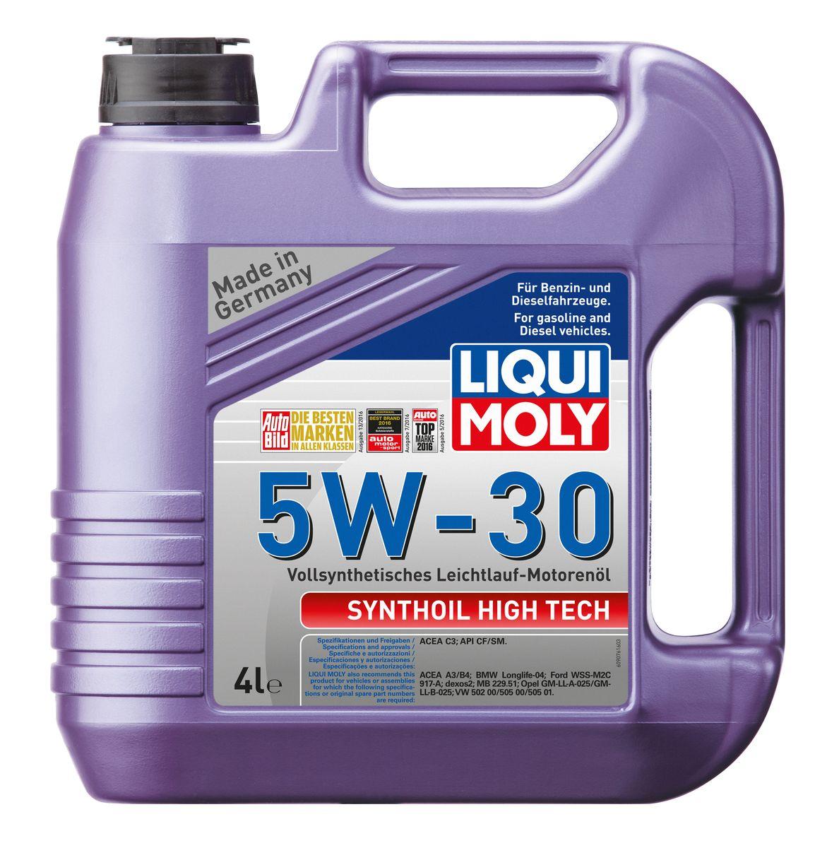 Масло моторное Liqui Moly Synthoil High Tech, синтетическое, 5W-30, 4 л2706 (ПО)Масло моторное Liqui Moly Synthoil High Tech - 100% синтетическое универсальное моторное масло на базе полиальфаолефинов (ПАО) для большинства автомобилей, для которых требования к маслам опираются на международные классификации API и ACEA. Популярнейший класс вязкости для всех современных автомобилях. Благодаря новейшему классу ACEA C3 моторное масло отлично подходит для автомобилей с сажевыми фильтрами. Использование современных, полностью синтетических базовых масел (ПАО) и передовых технологий в области разработок присадок гарантирует низкую вязкость масла при низких температурах, высокую надежность масляной пленки. Моторные масла линейки Synthoil предотвращают образование отложений в двигателе, снижают трение и надежно защищают от износа. Особенности: - Быстрое поступление масла к трущимся деталям при низких температурах- Высокая защита двигателя от износа- Замечательная термоокислительная стабильность и устойчивость к старению- Обеспечивает чистоту двигателя- Очень низкий расход масла- Совместимо с новейшими системами нейтрализации выхлопных газов- Сокращает вредные выбросыДопуск: -API: CF/SM-ACEA: C3