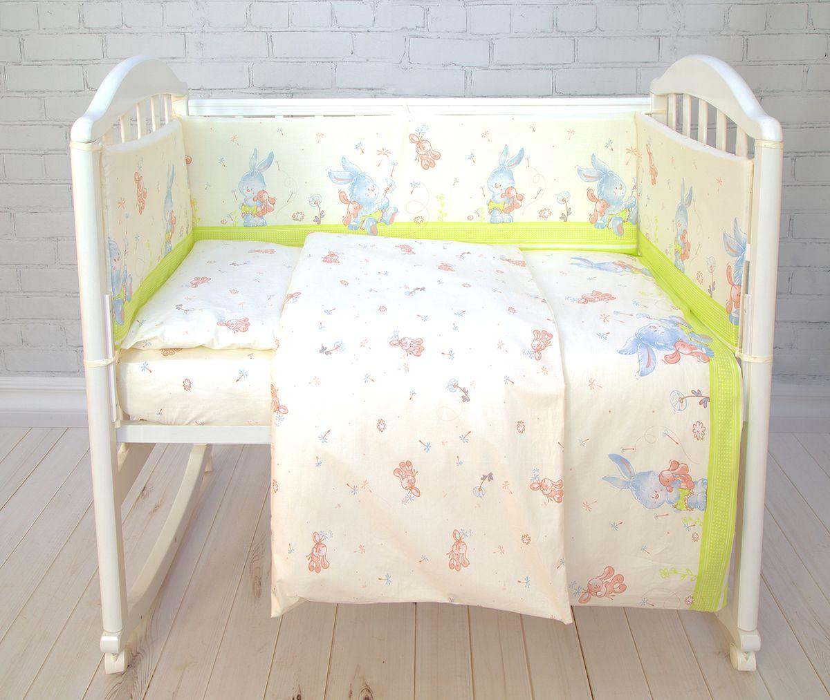 Baby Nice Комплект белья для новорожденных Зайка цвет салатовыйS6152602_салатовый/ЗайкаБорт в кроватку Baby Nice (его ещё называют бампер) является отличной защитой малыша от сквозняков и ударов при поворотах в кроватке. Ткань верха: 100% хлопок, наполнитель: экологически чистый нетканый материал для мягкой мебели - периотек. Дизайны бортов сочетаются с дизайнами постельного белья, так что, можно самостоятельно сделать полный комплект, идеальный для сна. Борта в кроватку - мягкие удобные долговечные: надежная и эстетичная защита вашего ребенка! Состав комплекта: 4-е стороны: 120х35 - 2 шт, 60х35 - 2 шт.