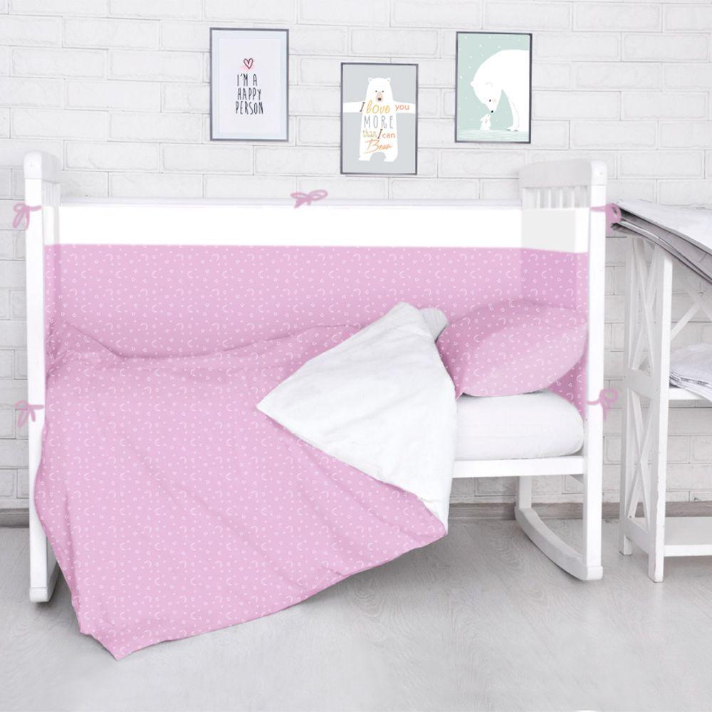 Baby Nice Комплект белья для новорожденных Луны Звездочки цвет розовыйS6012702_розовый/Луны, звездочкиБорт в кроватку (его ещё называют бампер) является отличной защитой малыша от сквозняков и ударов при поворотах в кроватке. Ткань верха: 100% хлопок, наполнитель: экологически чистый нетканый материал для мягкой мебели — периотек. Дизайны бортов сочетаются с дизайнами постельного белья, так что, можно самостоятельно сделать полный комплект, идеальный для сна. Борта в кроватку — мягкие удобные долговечные: надежная и эстетичная защита вашего ребенка! Состав комплекта: 4-е стороны: 120х35 - 2 шт, 60х35 - 2 шт.