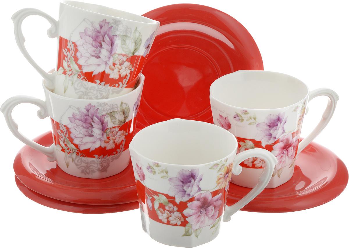 Набор чайный Loraine, 8 предметов. 2470024700Чайный набор Loraine, выполненный из керамики, состоит из 4 чашек и 4 блюдец. Чашка оформлена красочным изображением. Изящный дизайн и красочность оформления придутся по вкусу и ценителям классики, и тем, кто предпочитает современный стиль. Чайный набор - идеальный и необходимый подарок для вашего дома и для ваших друзей в праздники, юбилеи и торжества! Он также станет отличным корпоративным подарком и украшением любой кухни. Набор упакован в подарочную коробку из плотного цветного картона. Внутренняя часть коробки задрапирована белым атласом. Размер чашки: 8,5 х 8 см. Высота чашки: 7,5 см. Объем чашки: 230 мл. Размеры блюдца: 14 х 14 х 1,5 см.
