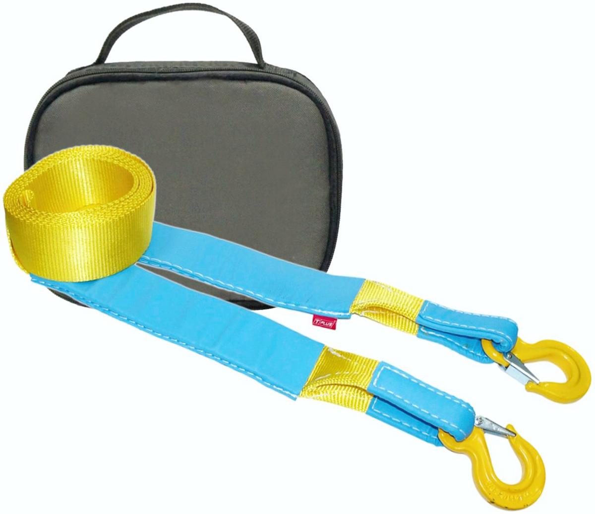 Ремень буксировочный эластичный Tplus Стандарт, крюк/крюк, с сумкой, цвет: олива, 6 т, 5 мT001960Минимальная разрывная нагрузка (MBS): 6 т; Безопасная рабочая нагрузка (SWL): 2 т; Длина: 5 м; Ширина ленты: 70 мм; Материал ленты: полиамид; Защита петель: экокожа; Защита швов: экокожа; Эластичность (удлинение при нагрузке): 20%; Исполнение: крюк/крюк; Крюк с усиленной защелкой (SF8): 2/16 т (безопасная рабочая нагрузка SWL/минимальная разрывная нагрузка MBS); Применяется для а/м массой* от 1 до 1.8 т; Сумка (оксфорд); Гарантия: 1 год. *масса а/м = снаряженная масса а/м + 100 кг (+20% при эвакуации а/м из грязи). Если а/м оснащен дополнительным оборудованием (силовой бампер, лебёдка и т. п.), то масса а/м = снаряженная масса а/м + 100 кг + масса дополнительно установленного навесного оборудования (+20% при эвакуации а/м из грязи).