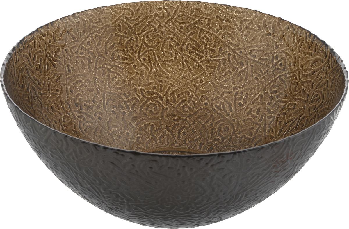 Салатник NiNaGlass Ажур, цвет: шоколадный металлик, диаметр 25 см83-043-ф250 ШОКМЕТСалатник NiNaGlass Ажур выполнен из высококачественного стекла и декорирован рельефным узором. Он подойдет для сервировки стола как для повседневных, так и для торжественных случаев. Такой салатник прекрасно впишется в интерьер вашей кухни и станет достойным дополнением к кухонному инвентарю. Подчеркнет прекрасный вкус хозяйки и станет отличным подарком. Не рекомендуется использовать в микроволновой печи и мыть в посудомоечной машине. Диаметр салатника (по верхнему краю): 25 см. Высота стенки: 10 см.