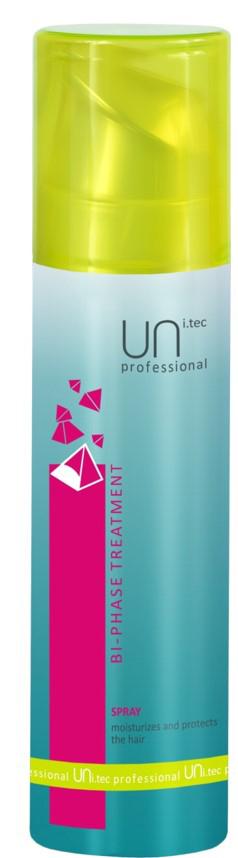 Uni.tec Спрей для волос увлажняющий с УФ-фильтрами Bi-Phase Treatment, 200 млFS-00897Воздействие жары, солнечного излучения, холода, кондиционеров негативно сказывается на волосах, обезвоживает и истощает их. Двухфазный спрей увлажняет и реструктурирует капиллярное волокно. Предупреждает обесцвечивание волос, защищая естественные и искусственные пигменты от воздействия свободных радикалов и окисляющих эффектов. Волосы надежно защищены в любое время года, наполнены силой и имеют здоровый вид. Применение: тщательно взболтайте перед использованием. Нанесите на вымытые, высушенные полотенцем волосы по всей длине. Не смывать. В летнее время рекомендуется наносить спрей на сухие волосы для дополнительного увлажнения и защиты от солнца перед выходом на улицу.