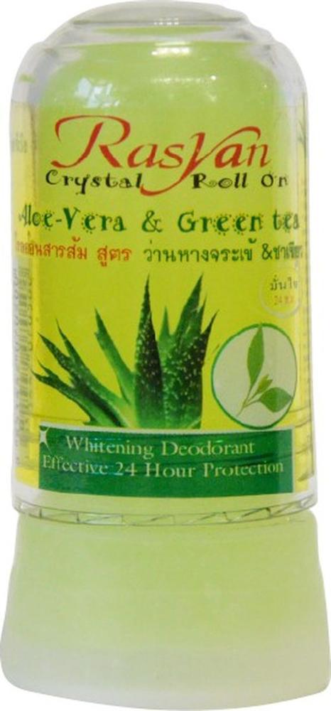 RasYan Дезодорант-кристалл с алоэ вера и зеленым чаем, 80 гр.500Состоит из твердых солей квасцов вулканического происхождения, защищает от пота и неприятного запаха без закупорки потовых протоков, обладает антибактериальным и увлажняющим эффектами, поскольку борется с бактериями, являющимися причинами появления запаха, экономичен, обладает длительным периодом действия, не оставляет следов на одежде, не раздражает кожу. Подходит для чувствительной кожи.