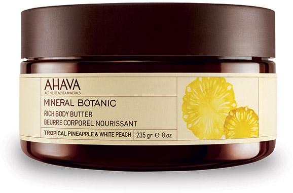 Ahava Mineral Botanic Насыщенное масло для тела тропический ананас и белый персик 235 гр81223065Мягкое и ультра питательное крем-масло для тела обеспечивает интенсивное увлажнение в течение всего дня. Масло персика, масло Ши смягчают и питают вашу кожу. Содержит комплекс Osmoter Ahava - сбалансированный концентрат минералов Мертвого моря.