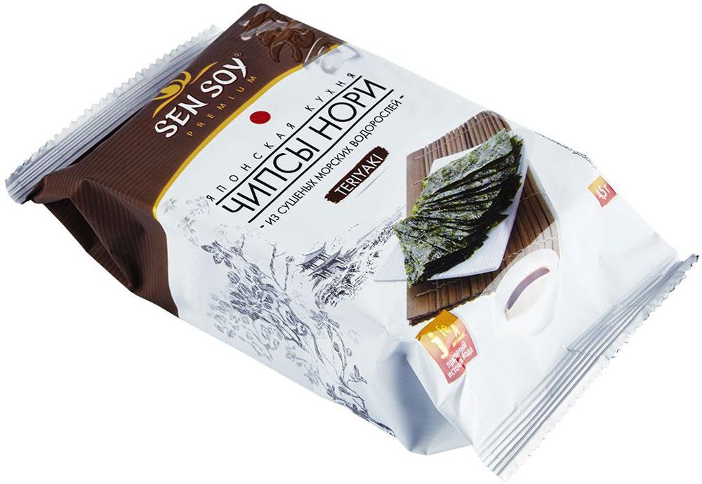 Sen Soy Чипсы Нори из морской капусты Teriyaki, 4,5 г4607041136000Чипсы Нори Терияки - это гармоничное сочетание насыщенного вкуса соевого соуса Teriyaki и специфического вкуса водорослей. Хрустящие пластинки нори, обжаренные на кунжутном и кукурузном масле, сохраняют все исключительные свойства морских водорослей, а соевый соус придает чипсам особый яркий вкус.