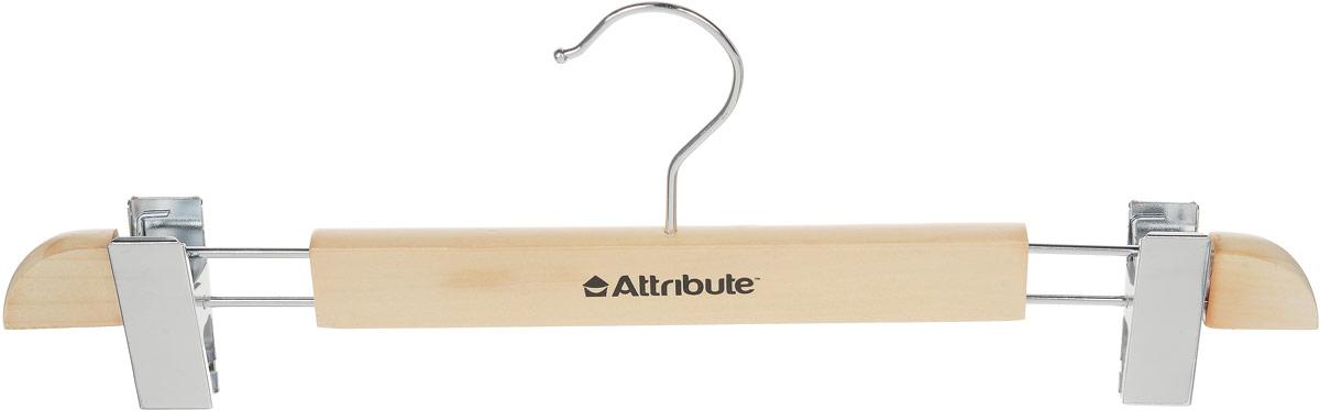 Вешалка для юбок Attribute Hanger, с клипсами, цвет: дерево, длина 37,5 смAHN401Вешалка Attribute Hanger изготовлена из дерева и металла, снабжена клипсами для юбок. Клипсы имеют специальные пластиковые вставки, чтобы не повредить ткань. Вешалка - это незаменимый аксессуар для того, чтобы ваша одежда всегда оставалась в хорошем состоянии. Длина вешалки: 37,5 см.