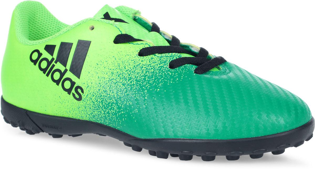 Бутсы для мальчика Adidas X 16.4 TF J, цвет: зеленый, светло-зеленый, черный. Размер 31 (30)SUPEW.410.PSБутсы для мальчика Adidas X 16.4 TF J созданы для игры на искусственных поверхностях. Верх выполнен из текстиля с полимерным покрытием. Классическая шнуровка гарантирует удобство и надежно фиксирует модель на стопе. Стелька, выполненная из мягкого текстиля, обеспечивает комфорт и отличную амортизацию. Подошва с шипами гарантирует отличное сцепление с любым покрытием. В таких бутсах ваш мальчик станет победителем!