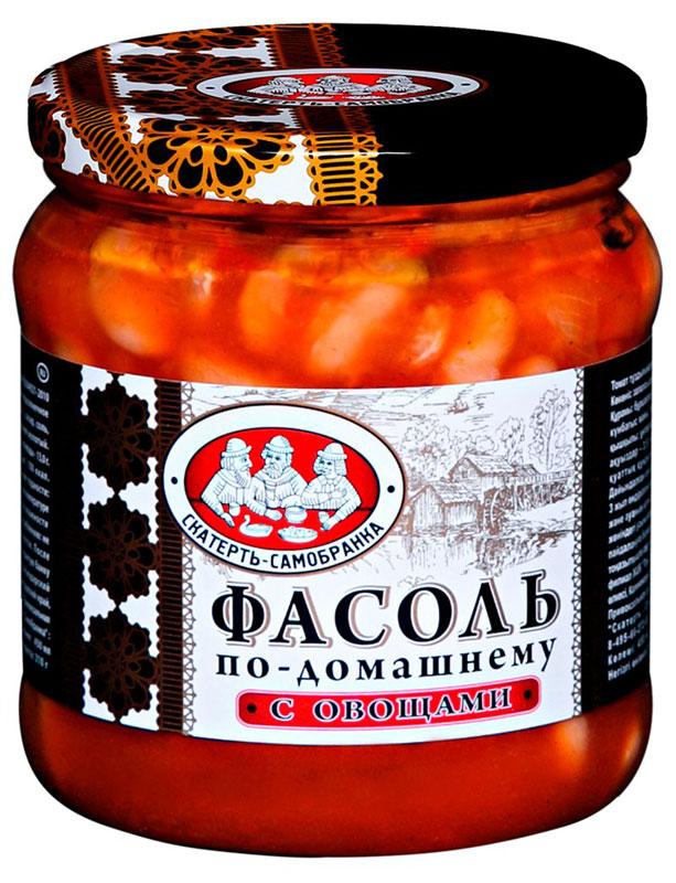 Скатерть-Самобранка фасоль с овощами, 450 мл0120710Фасоль в томатном соусе с овощами по-домашнему рецепту. Готовое блюдо станет превосходной закуской на праздничном столе.