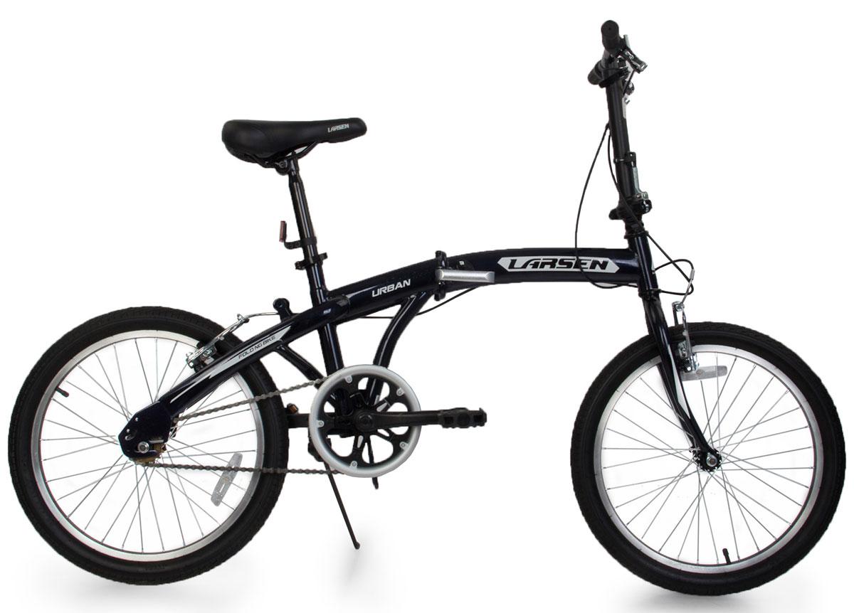 Велосипед Larsen Urban 20, складной, черный337923Велосипед Larsen Urban 20 - это складной подростковый велосипед, который станет прекрасным подарком для вашего ребенка. Велосипед идеально справится со своим прямым предназначением - катанием по асфальтированным и грунтовым дорогам. Модель прекрасно сконструирована: современный яркий дизайн, безопасность, удобная форма рамы - вот ее главные преимущества. Благодаря полноценной защите цепи, исключены попадание в цепь одежды и малейшая возможность случайно поцарапаться. У данной модели качественная, прочная, легкая и удобная рама из стали с жесткой вилкой, которая менее подвержена механическим повреждениям и коррозии в сырую погоду. Конструкция рамы - складная, это позволит компактно перевозить велосипед и хранить его в квартире. Мягкое седло велосипеда и руль регулируются по высоте, что придает комфорт, делая прогулки по городу более удобными. Колеса диаметром 20 дюймов с покрышками Wanda и алюминиевыми ободами обладают хорошей маневренностью, ускорением и накатом. V -...