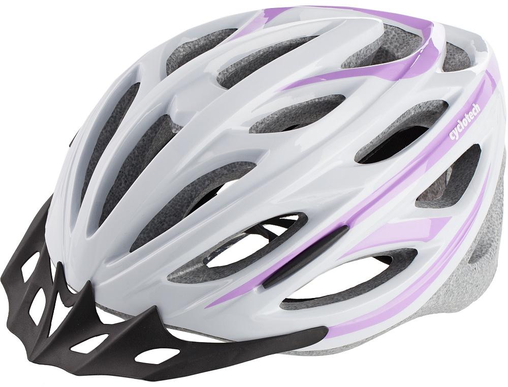 Шлем велосипедный Cyclotech, цвет: белый, розовый. Размер MCHHY15WЖенский велосипедный шлем, изготовленный по технологии OutMold, которая обеспечивает хорошее сочетание невысокой цены и достаточной технологичности. Увеличенное количество вентиляционных отверстий гарантирует отличную циркуляцию воздуха при любой скорости передвижения, сохраняя при этом жесткость шлема. Шлем соответствует международным стандартам безопасности и надежности. 58-62 см