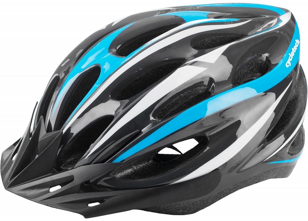 Шлем велосипедный Cyclotech, цвет: черный, синий. Размер MCHLI16MМужской велосипедный шлем продвинутого уровня. Изготовлен по современной технологии Inmold. За счет применения данной технологии шлем становится значительно более устойчивым к боковым и фронтальным ударам, как тупыми, так и острыми предметами (камни, скальные породы и пр.). Улучшенная система вентиляции. Шлем соответствует международным стандартам безопасности и надежности. 54-58 см Конструкция In-mould Регулировка размера Да Тип регулировки размера Поворотное кольцо Материал внешней раковины Пластик Материал внутренней раковины Вспененный пенополистирол Материал подкладки Нейлон Сертификация EN 1078 Производитель Cyclotech Артикул производителя CHLI-16M-M Срок гарантии 6 месяцев Страна производства Китай