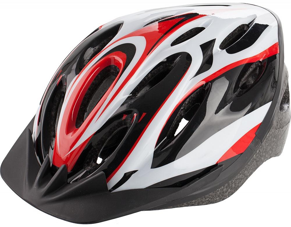 Шлем велосипедный Cyclotech, цвет: черный, красный. Размер MCRL-3BLВелосипедный шлем, изготовленный по технологии OutMold, которая обеспечивает хорошее сочетание невысокой цены и достаточной технологичности. Увеличенное количество вентиляционных отверстий обеспечивает отличную циркуляцию воздуха на любой скорости при сохранении жесткости шлема. Шлем соответствует международным стандартам безопасности и надежности.
