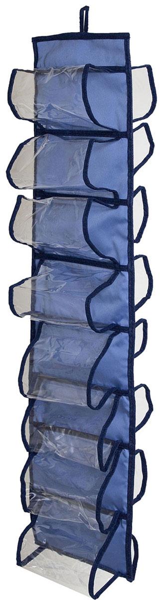 Органайзер для хранения шарфов и мелочей Homsu Bluе Sky, подвесной, 20 х 80 смUP210DFПодвесной двусторонний органайзер для хранения Homsu Bluе Sky изготовлен из высококачественного нетканого материала (полиэстер). Изделие позволяет сохранить естественную вентиляцию, а воздуху свободно проникать внутрь, не пропуская пыль. Органайзер оснащен 16 раздельными секциями. Идеально подходит для хранения разных мелочей в шкафу. Мобильность конструкции обеспечивает складывание и раскладывание одним движением. Размер органайзера: 20 х 80 см.