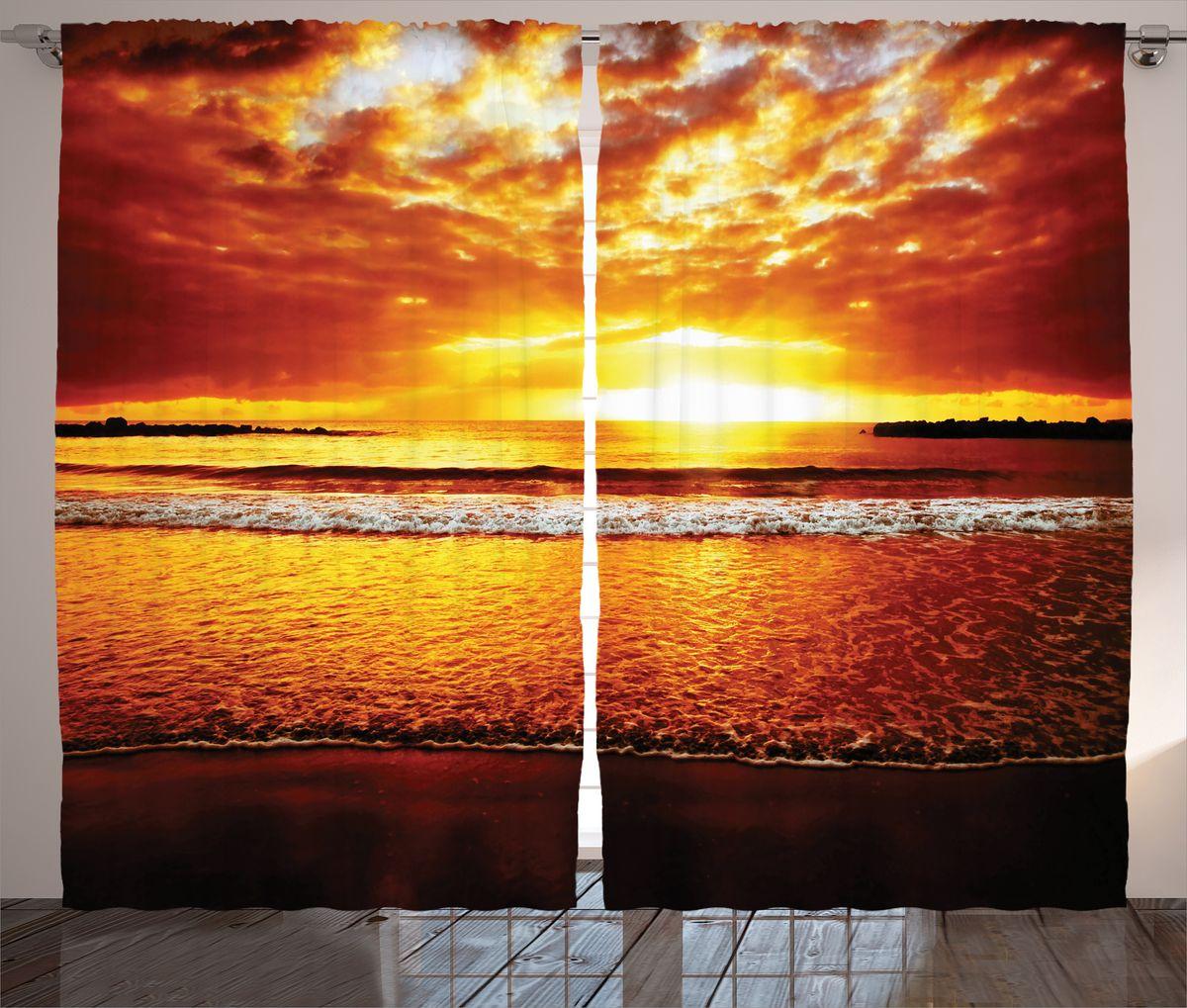 Комплект фотоштор Magic Lady Пламенеющий закат над морем, на ленте, высота 265 см. шсг_15024шсг_15024Компания Сэмболь изготавливает шторы из высококачественного сатена (полиэстер 100%). При изготовлении используются специальные гипоаллергенные чернила для прямой печати по ткани, безопасные для человека и животных. Экологичность продукции Magic lady и безопасность для окружающей среды подтверждены сертификатом Oeko-Tex Standard 100. Крепление: крючки для крепления на шторной ленте (50 шт). Возможно крепление на трубу. Внимание! При нанесении сублимационной печати на ткань технологическим методом при температуре 240°С, возможно отклонение полученных размеров (указанных на этикетке и сайте) от стандартных на + - 3-5 см. Производитель старается максимально точно передать цвета изделия на фотографиях, однако искажения неизбежны и фактический цвет изделия может отличаться от воспринимаемого по фото. Обратите внимание! Шторы изготовлены из полиэстра сатенового переплетения, а не из сатина (хлопок). Размер одного полотна шторы: 145х265 см. В комплекте 2...