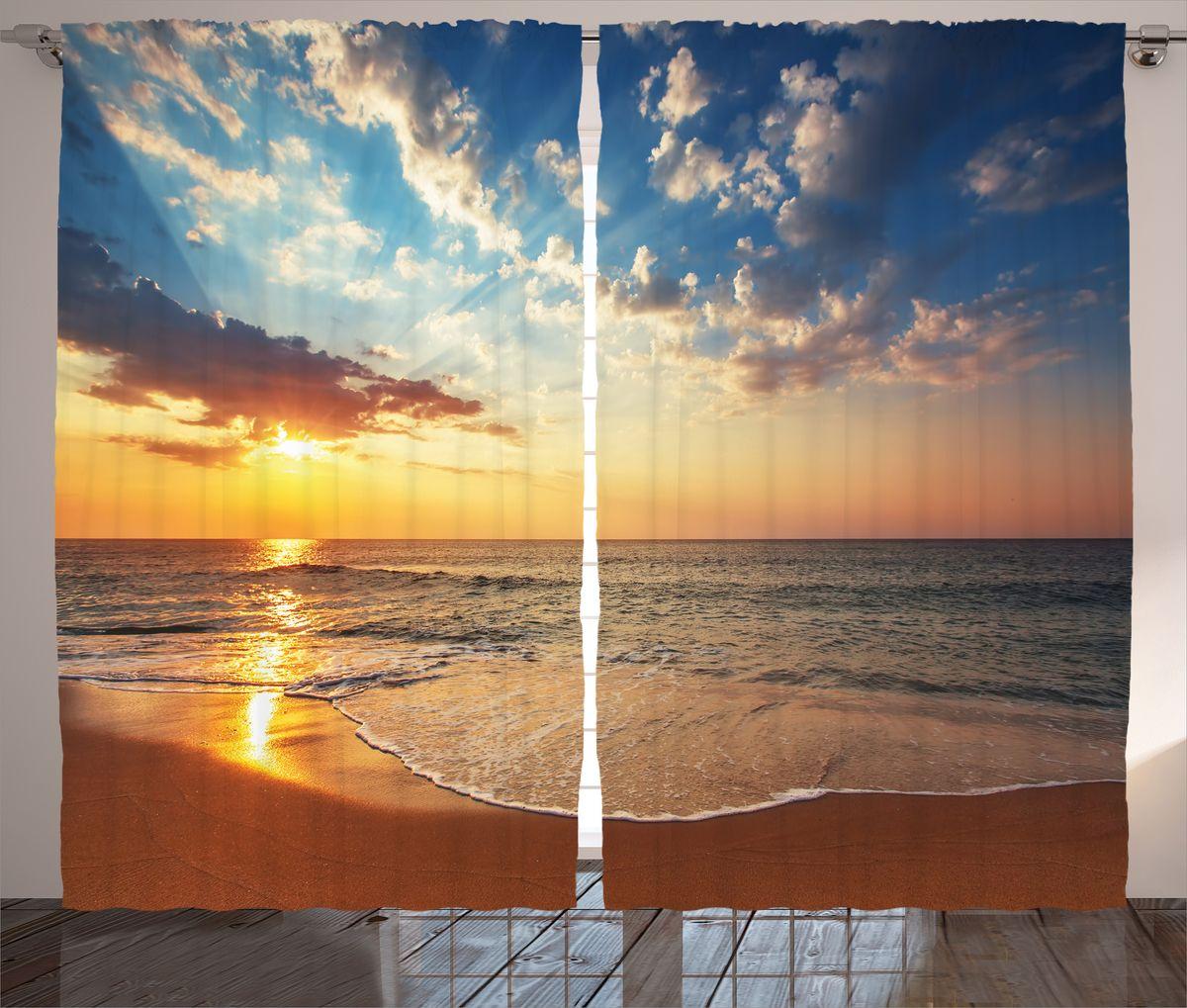 Комплект фотоштор Magic Lady Оранжевый пляж, на ленте, высота 265 см. шсг_15030шсг_15030Компания Сэмболь изготавливает шторы из высококачественного сатена (полиэстер 100%). При изготовлении используются специальные гипоаллергенные чернила для прямой печати по ткани, безопасные для человека и животных. Экологичность продукции Magic lady и безопасность для окружающей среды подтверждены сертификатом Oeko-Tex Standard 100. Крепление: крючки для крепления на шторной ленте (50 шт). Возможно крепление на трубу. Внимание! При нанесении сублимационной печати на ткань технологическим методом при температуре 240°С, возможно отклонение полученных размеров (указанных на этикетке и сайте) от стандартных на + - 3-5 см. Производитель старается максимально точно передать цвета изделия на фотографиях, однако искажения неизбежны и фактический цвет изделия может отличаться от воспринимаемого по фото. Обратите внимание! Шторы изготовлены из полиэстра сатенового переплетения, а не из сатина (хлопок). Размер одного полотна шторы: 145х265 см. В комплекте 2...