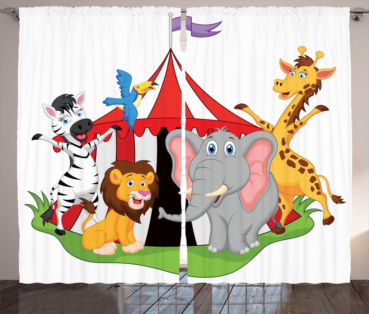 Комплект фотоштор Magic Lady Звери приглашают в цирк, на ленте, высота 265 см. шсг_1545710503Компания Сэмболь изготавливает шторы из высококачественного сатена (полиэстер 100%). При изготовлении используются специальные гипоаллергенные чернила для прямой печати по ткани, безопасные для человека и животных. Экологичность продукции Magic lady и безопасность для окружающей среды подтверждены сертификатом Oeko-Tex Standard 100. Крепление: крючки для крепления на шторной ленте (50 шт). Возможно крепление на трубу. Внимание! При нанесении сублимационной печати на ткань технологическим методом при температуре 240°С, возможно отклонение полученных размеров (указанных на этикетке и сайте) от стандартных на + - 3-5 см. Производитель старается максимально точно передать цвета изделия на фотографиях, однако искажения неизбежны и фактический цвет изделия может отличаться от воспринимаемого по фото. Обратите внимание! Шторы изготовлены из полиэстра сатенового переплетения, а не из сатина (хлопок). Размер одного полотна шторы: 145х265 см. В комплекте 2 полотна шторы и 50 крючков.