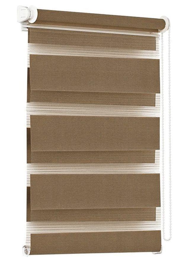 Штора рулонная Эскар Миниролло. День-Ночь, цвет: какао, ширина 57 см, высота 150 см40023057150Конструкции шторы День-Ночь являются уникальным и функциональным вариантом стандартных оконных ролло. Такие шторы представляют собой 2-слойное полотно, позволяющее регулировать уровень освещенности любого помещения. Рулонные слои образованы полосами ткани с различной прозрачностью, благодаря которым можно быстро подобрать уровень светопроницаемости. Данную модель возможно закрепить непосредственно на раму окна без сверления, с помощью специальных креплений. Однотонная палитра - будет идеально гармонировать в любом интерьере, сочетаться с обоями, мебелью и другими функциональными или стилевыми элементами. Преимущества применения рулонных штор для пластиковых окон: - имеют прекрасный внешний вид: многообразие и фактурность материала изделия отлично смотрятся в любом интерьере; - многофункциональны: есть возможность подобрать шторы способные эффективно защитить комнату от солнца, при этом она не будет слишком темной. - Есть возможность...