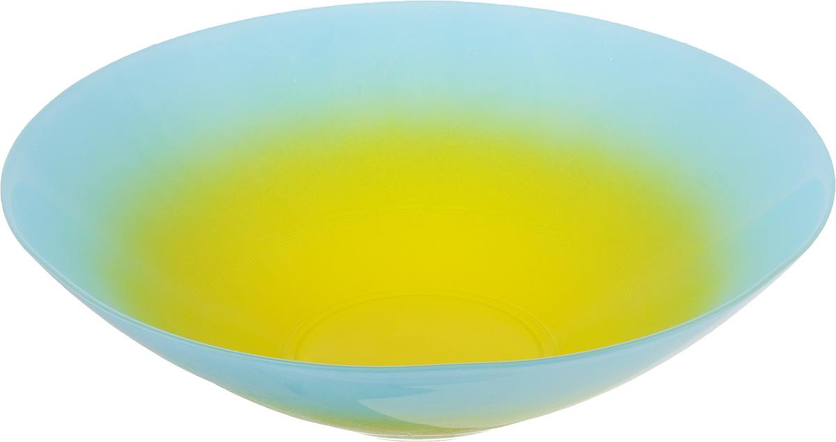 Салатник NiNaGlass Голландия, цвет: желтый, голубой, диаметр 25 см83-012-ф25 Г-ЖСалатник NiNaGlass Голландия выполнен из высококачественного двухцветного стекла с эффектом градиент. Салатник идеален для сервировки салатов, овощей, ягод, фруктов, гарниров и многого другого. Он отлично подойдет как для повседневных, так и для торжественных случаев. Такой салатник прекрасно впишется в интерьер вашей кухни и станет достойным дополнением к кухонному инвентарю. Диаметр салатника (по верхнему краю): 25 см. Высота стенки: 7,5 см.