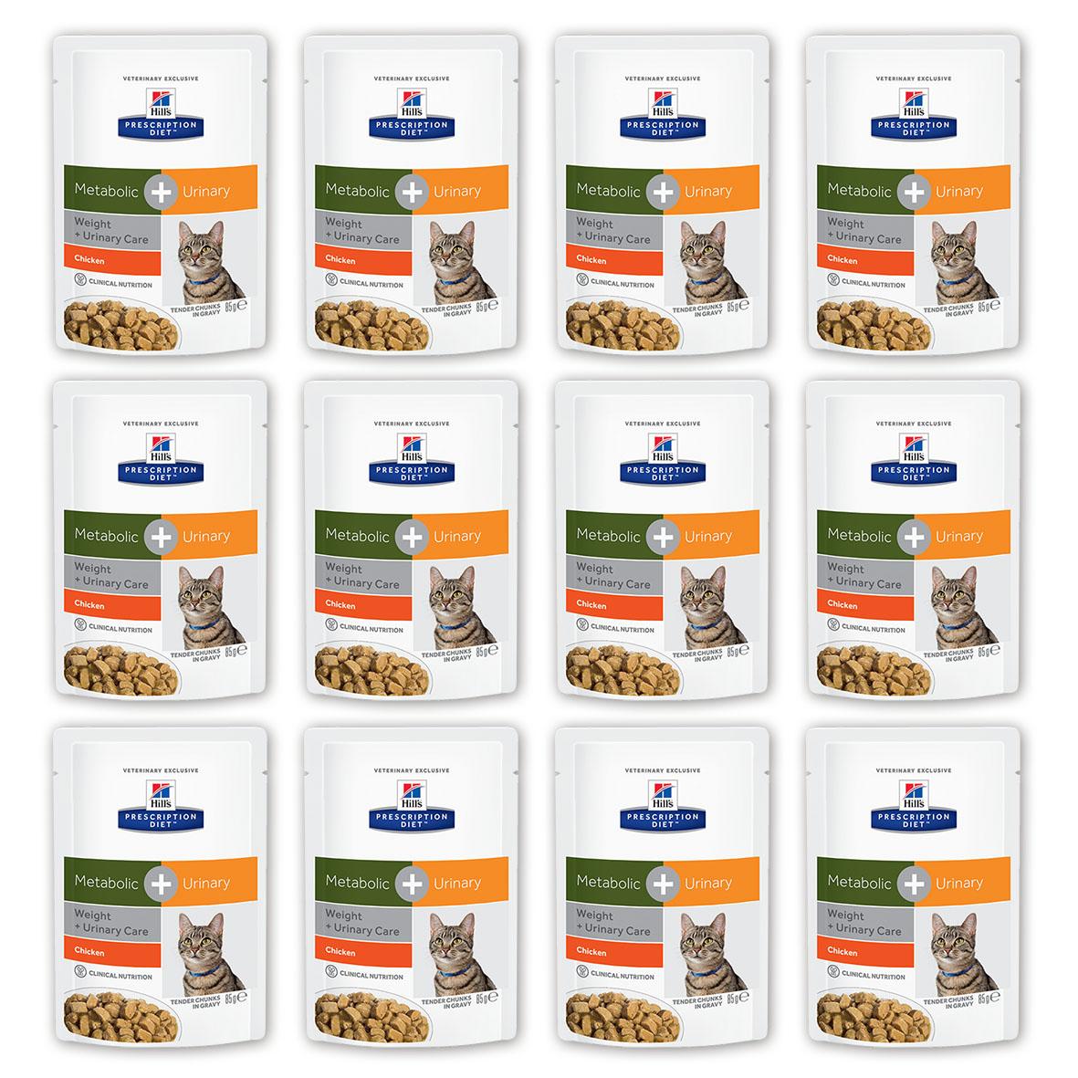 Консервы для кошек Hills Metabolic + Urinary, для коррекции веса при урологических заболеваниях, с курицей, 85 г, 12 шт0120710Консервы Hills Metabolic + Urinary - полноценный диетический рацион с клинически доказанной способностью уменьшать вероятность повторного проявления основных признаков заболеваний нижнего отдела мочевыводящих путей, и снижать вес на 11% за 60 дней. Ключевые преимущества- Комплекс нутриентов c клинически доказанной эффективностью в рационе Metabolic + Urinary учитывает индивидуальные энергетические потребности кошки, оптимизируя процесс сжигания жиров и влияя на эффективное использование калорий -Позволяет избежать повторного набора веса после прохождения программы по снижению веса- Клинически доказано: эффективно растворяет струвиты - Помогает вашей кошке оставаться сытой и удовлетворенной между кормлениями- Превосходный вкус, который понравится любой кошке.Рационы Hills Prescription Diet клинически протестированы, разработаны для поддержания и коррекции состояния у животных, имеющих проблемы со здоровьем при сохранении превосходных вкусовых характеристик. Состав: Мясо и производные животного происхождения, производные растительного происхождения, злаки, овощи, различные сахара, масла и жиры, экстракт растительного протеина, минералы, DL-метионин. Анализ: протеин 7,5 %, жиры 2,6 %, клетчатка (общая) 2,1 %, зола 1,1%, влага 81,0 %, кальций 0,15 %, фосфор 0,14 %, натрий 0,07 %, калий 0,13 %, магний 0,001 %, хлорид 0,16 %, сера 0,14 %.Добавки: витамин Е10 130 мг/кг, бета-каротин 0,3 мг/кг, таурин 535 мг, витамин D3 200 ме, железо 32,4 мг, йод 0,6 мг, медь 6,9 мг, марганец 3 мг, цинк 34,2 мг. Окрашено натуральной карамелью. Метаболизируемая энергия (расчет): 2,9 МДж/кг.Уважаемые клиенты! Обращаем ваше внимание на возможные изменения в дизайне упаковки. Качественные характеристики товара остаются неизменными. Поставка осуществляется в зависимости от наличия на складе.