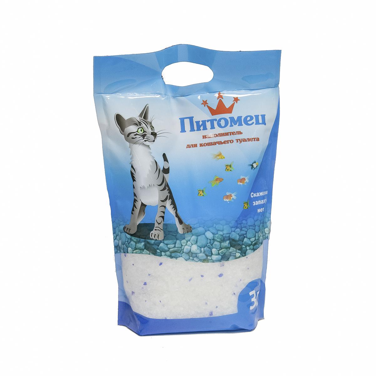 """Наполнитель для кошачьего туалета """"Питомец"""", силикагелевый, 3 л 00000000018"""