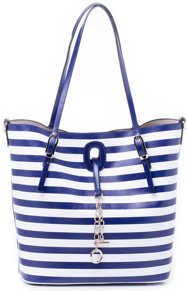 Сумка женская Renee Kler, цвет: синий, белый. RK7003-06RK7003-06Крайне оригинальная и мультифункциональная сумка Renee Kler не оставит равнодушным. Изделие выполнено из экокожи и состоит из двух вложенных друг в друга частей: главной большой сумки и внутренней сумки поменьше. Большая сумка оснащена удобными ручками для переноски и имеет вместительное отделение, застегивающееся на фурнитурный клапан. Вложенная в нее сумка так же состоит из одного отделения, которое застегивается на молнию, однако, дополнена двумя накладными кармашками для телефона и мелочей, одним прорезным на молнии. Обе части оснащены кольцами для пристегивания плечевого ремня и могут использоваться как отдельные сумки, так и как одна с вложением. Плечевой регулируемый ремень на карабинах прилагается.