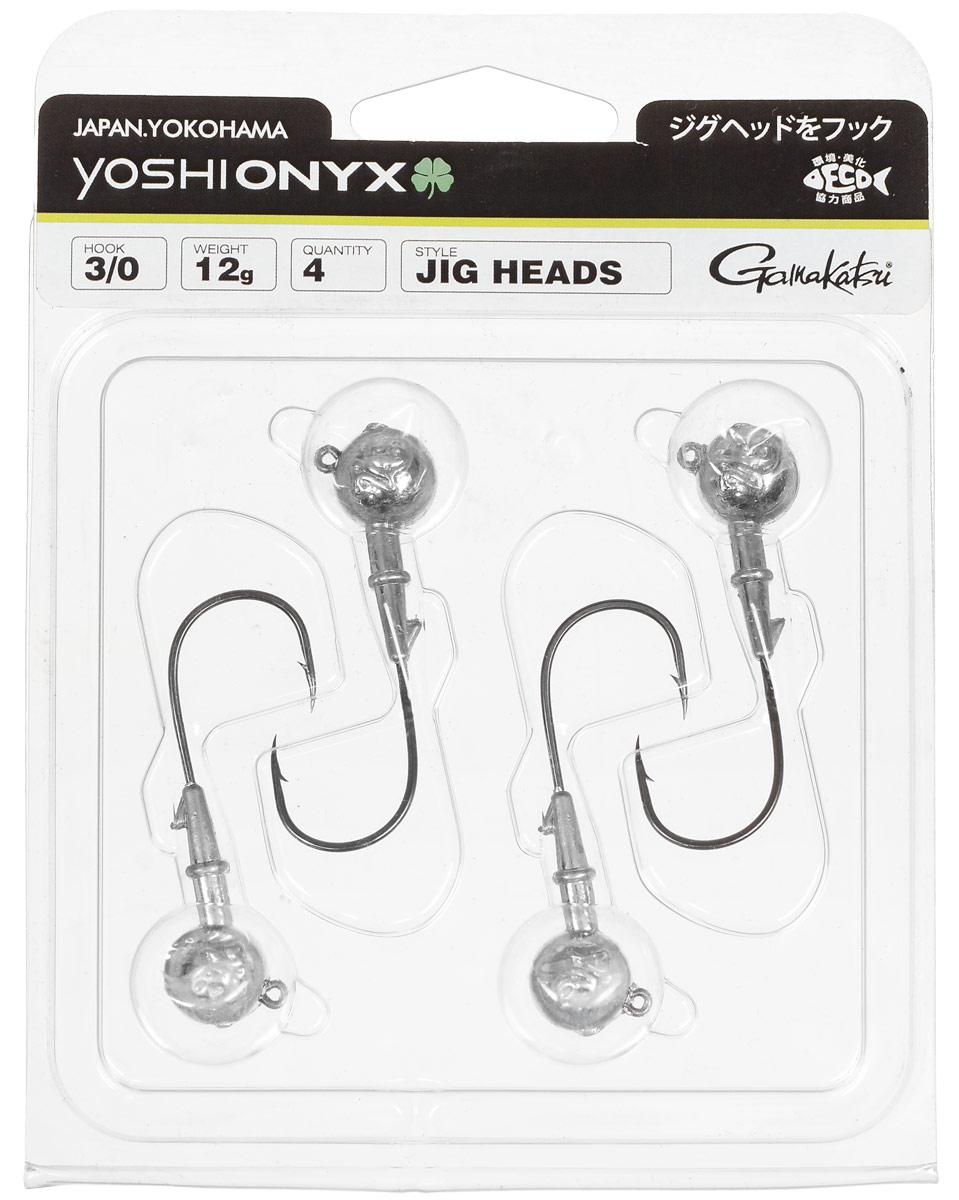 Джиг-головка Yoshi Onyx, крючок Gamakatsu 3/0, 12 г, 4 шт97994Джиг-головки Yoshi Onyx предназначены в первую очередь для донной спиннинговой ловли - джиг спиннинга. Джиг головками оснащаются всевозможные мягкие приманки: виброхвосты, твистеры, силиконовые рачки и черви. Возможно их применение и с естественными насадками, к примеру, при ловле судака бортовой удочкой на мертвую рыбку или кусочки рыбы. Джигголовка оснащена крючком Gamakatsu. Такой крючок прекрасно пробивает жесткую пасть крупного судака, щуки и сома. Вес: 12 г. Количество: 4 шт. Крючок: Gamakatsu 3/0.
