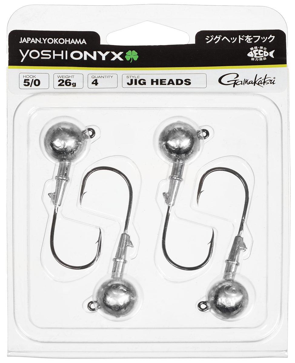 Джиг-головка Yoshi Onyx, крючок Gamakatsu 5/0, 26 г, 4 шт98016Джиг-головки Yoshi Onyx предназначены в первую очередь для донной спиннинговой ловли - джиг спиннинга. Джиг головками оснащаются всевозможные мягкие приманки: виброхвосты, твистеры, силиконовые рачки и черви. Возможно их применение и с естественными насадками, к примеру, при ловле судака бортовой удочкой на мертвую рыбку или кусочки рыбы. Джиг-головка оснащена крючком Gamakatsu. Такой крючок прекрасно пробивает жесткую пасть крупного судака, щуки и сома. Вес: 26 г. Количество: 4 шт. Крючок: Gamakatsu 5/0.