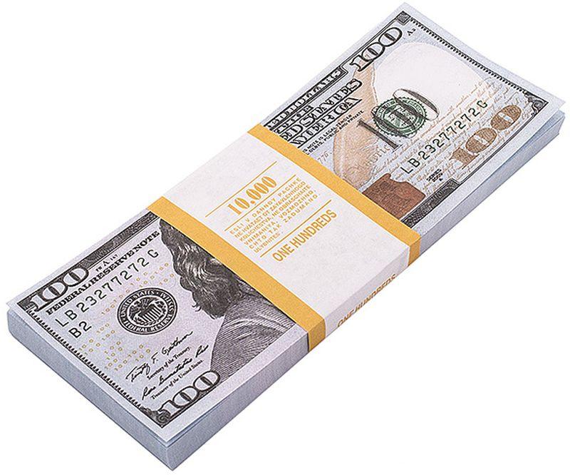 Забавная Пачка денег 100 долларов89449Эта забавная пачка с купюрами-дублерами достоинством в 100 долларов не поможет вам купить автомобиль или доплатить недостающую часть денег при покупке квартиры, но непременно позволит разыграть приятелей или, молниеносно махнув веером купюр, поразить всех своей состоятельностью. Пачка купюр перетянута бумажной лентой и в целом выглядит очень солидно. Только не перепутайте с настоящими! Характеристики: Размер купюры: 14,6 см х 6,2 см. Материал: бумага. Производитель: Россия. Артикул: 89447. Внимание! Уважаемые клиенты, обращаем ваше внимание, что количество купюр в пачке строго не нормировано - пачка денег рассчитана на развлекательную функцию.