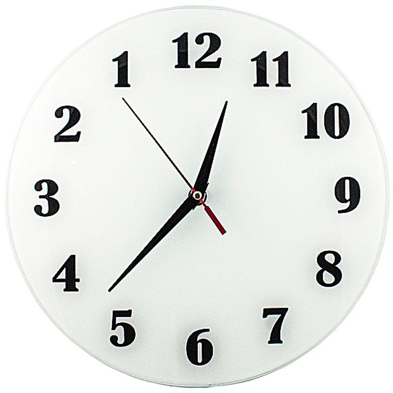 Часы Эврика АнтиЧасы. Классика белая, стеклянные54 009303Античасы с обратным ходом, механизм тихий, но тикающий (прерывистый ход секундной стрелки). Упаковка - коричневый картон, без рисунка. Элемент питания - 1 батарейка стандарт АА 1.5В Диаметр циферблата 28 см, глубина часов с механизмом 4 см.