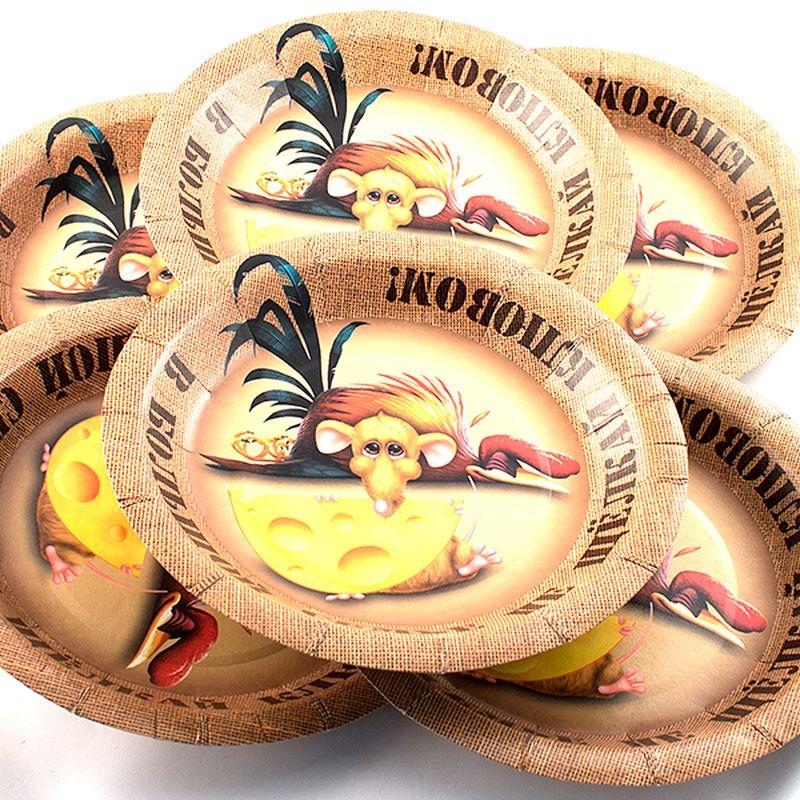Набор тарелок Эврика В большой семье, 6 шт96936Набор картонных тарелочек с красочным рисунком. Количество тарелочек в наборе 6 шт, диаметр тарелочки 19 см, глубина 2.5см.