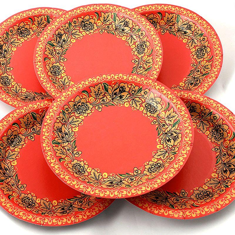 Набор тарелок Эврика Красна с цветами, 6 шт96973Набор картонных тарелочек с красочным рисунком. Количество тарелочек в наборе 6 шт, диаметр тарелочки 19 см, глубина 2.5см.