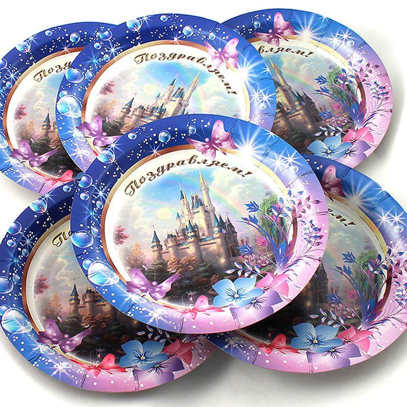 Набор тарелок Эврика Поздравляем, 6 шт96975Набор картонных тарелочек с красочным рисунком. Количество тарелочек в наборе 6 шт, диаметр тарелочки 19 см, глубина 2.5см.
