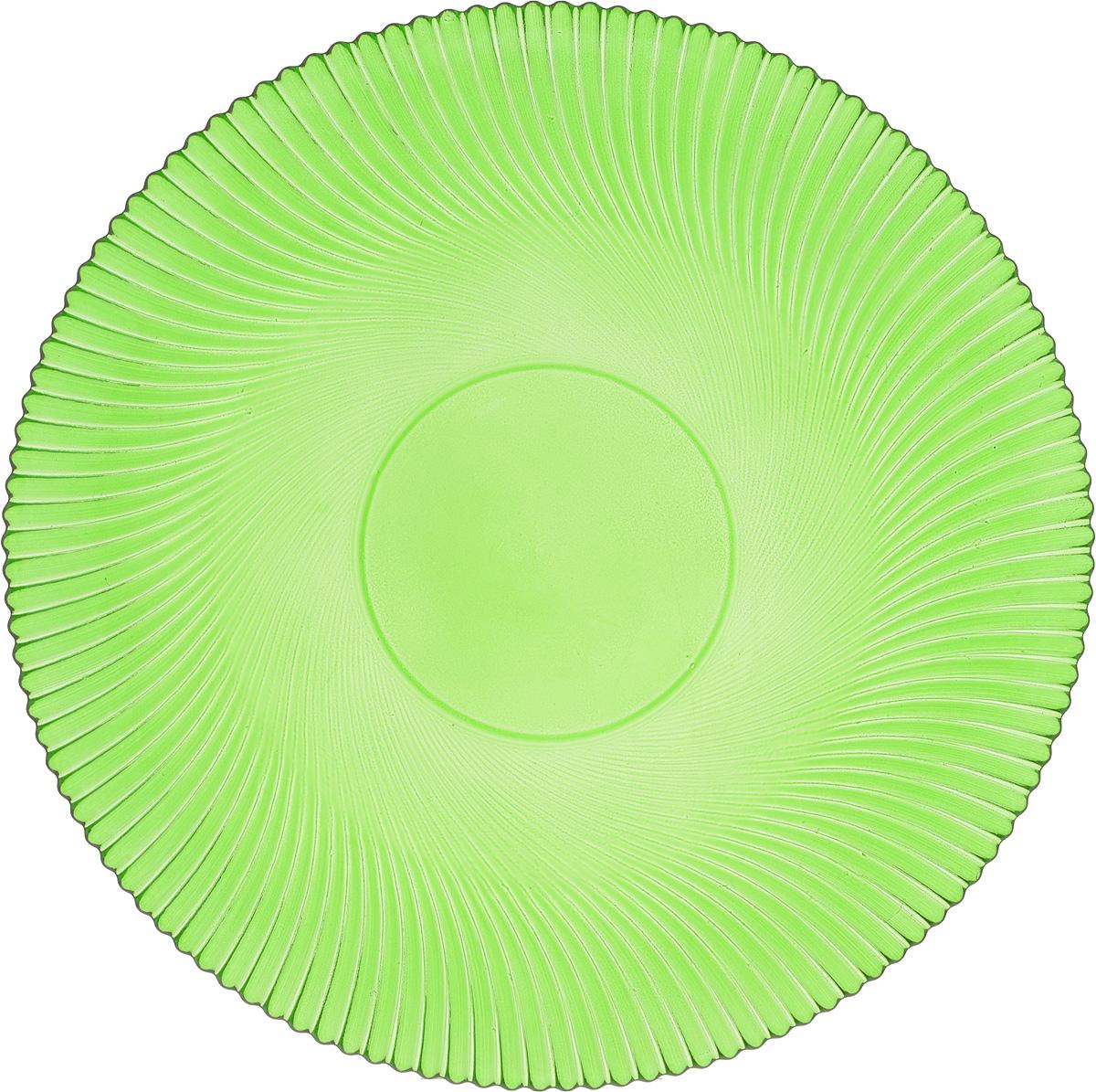 Тарелка NiNaGlass Альтера, цвет: зеленый, диаметр 26 см83-067-ф260 ЗЕЛТарелка NiNaGlass Альтера выполнена из высококачественного стекла и оформлена красивым рельефным узором. Тарелка идеальна для подачи вторых блюд, а также сервировки закусок, нарезок, десертов и многого другого. Она отлично подойдет как для повседневных, так и для торжественных случаев. Такая тарелка прекрасно впишется в интерьер вашей кухни и станет достойным дополнением к кухонному инвентарю.