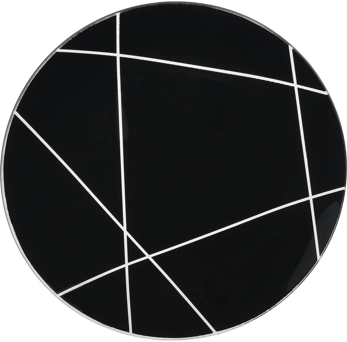 Тарелка NiNaGlass Контур, цвет: черный, диаметр 26 см85-260-002/чернТарелка NiNaGlass Виктория выполнена из высококачественного стекла и оформлена красивым прозрачным геометрическим принтом. Тарелка идеальна для подачи вторых блюд, а также сервировки закусок, нарезок, салатов, овощей и фруктов. Она отлично подойдет как для повседневных, так и для торжественных случаев. Такая тарелка прекрасно впишется в интерьер вашей кухни и станет достойным дополнением к кухонному инвентарю.