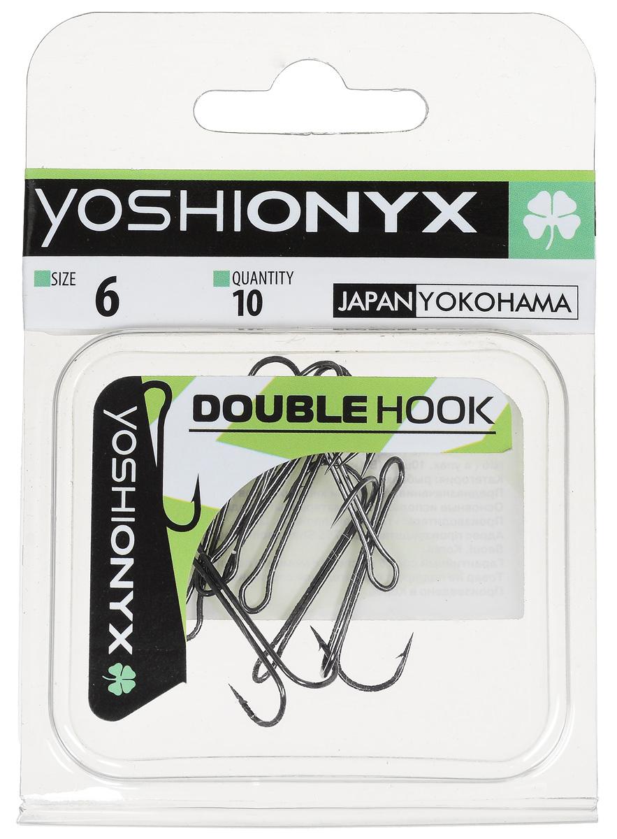 Крючок двойной Yoshi Onyx Double Hook, №6, 10 шт. BN807Двойные крючки Yoshi Onyx Double Hook с нормальной длиной цевья достаточно универсальные и могут использоваться в самых разнообразных видах рыбной ловли. Острая лазерная заточка и сверхпрочная закаленная сталь предотвратит разгибание или обламывание крючка и сход рыбы.