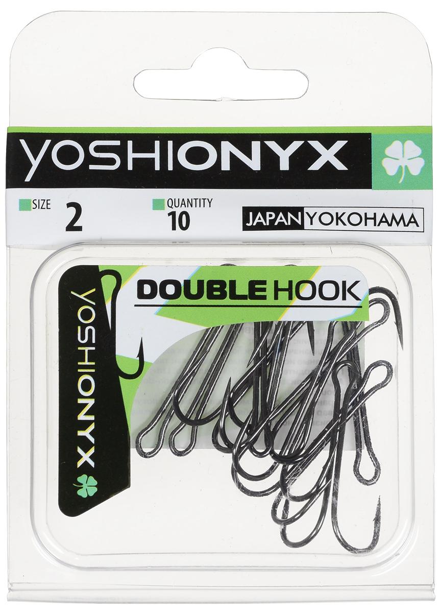 Крючок двойной Yoshi Onyx Double Hook, №2, 10 шт. BN87188Двойные крючки Yoshi Onyx Double Hook с нормальной длиной цевья достаточно универсальные и могут использоваться в самых разнообразных видах рыбной ловли. Острая лазерная заточка и сверхпрочная закаленная сталь предотвратит разгибание или обламывание крючка и сход рыбы.