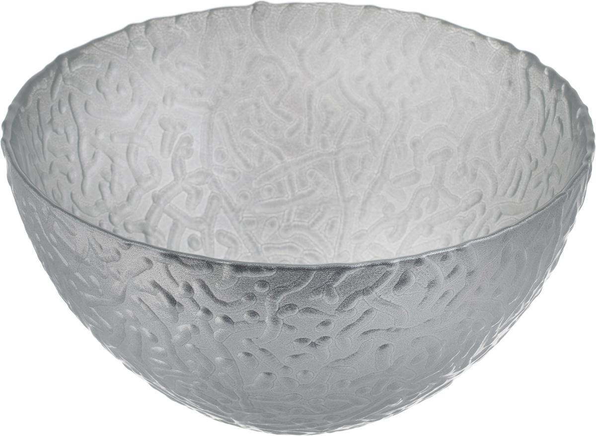 Салатник NiNaGlass Ажур, цвет: серебристый, диаметр 16 см83-041-Ф160 СЕРЕБМЕТСалатник NiNaGlass Ажур выполнен из высококачественного стекла и декорирован рельефным узором. Идеален для сервировки салатов, овощей и фруктов, ягод, вторых блюд, гарниров и многого другого. Он отлично подойдет как для повседневных, так и для торжественных случаев. Такой салатник прекрасно впишется в интерьер вашей кухни и станет достойным дополнением к кухонному инвентарю. Диаметр салатника (по верхнему краю): 16 см. Высота стенки: 8,5 см.
