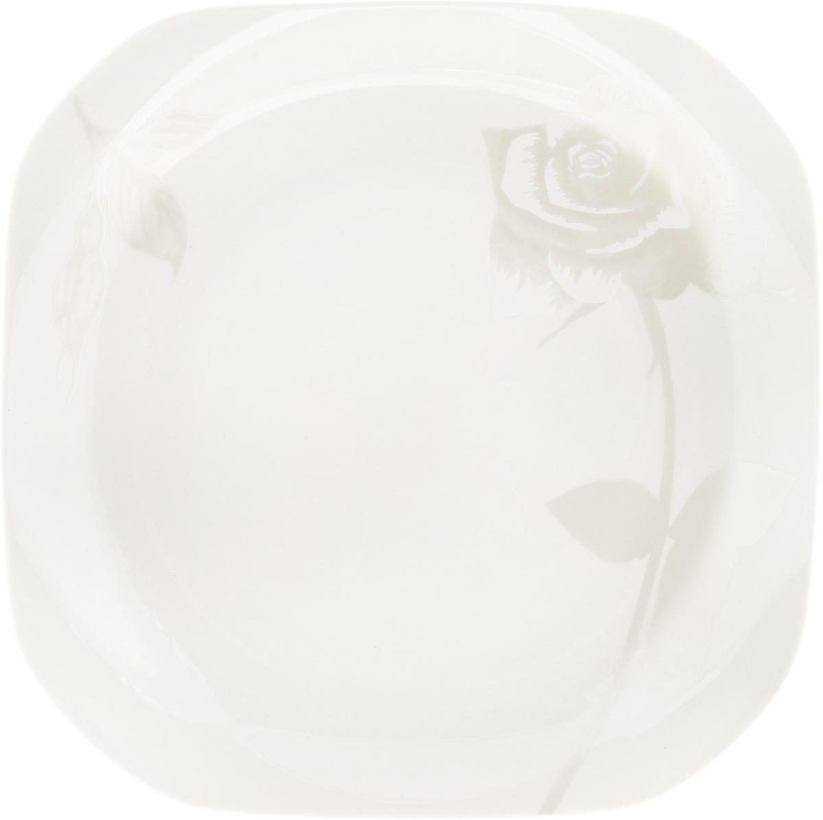 Тарелка подстановочная Жемчужная роза, 23,5 x 23,5 см216691Тарелка Жемчужная роза изготовлена из глазурованного фарфора. Подстановочная тарелка - это особый вид тарелок. Обычно она выполняет исключительно декоративную функцию. Такая тарелка изысканно украсит сервировку как обеденного, так и праздничного стола. Размер тарелки: 23,5 x 23,5 см.