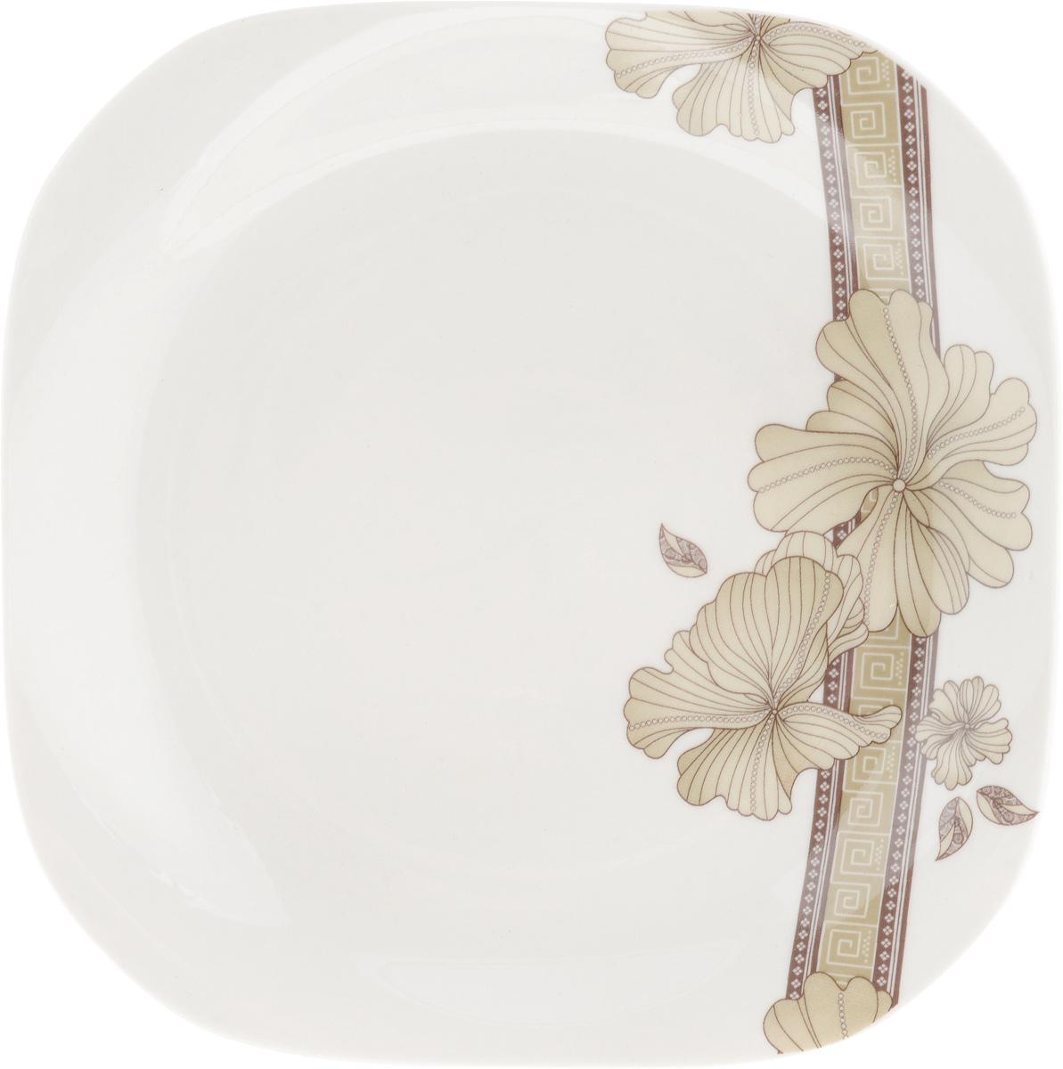 Тарелка десертная София, 18 x 18 см216704Десертная тарелка София, изготовленная из качественного фарфора с глазурованным покрытием. Такая тарелка прекрасно подходит как для торжественных случаев, так и для повседневного использования. Идеальна для подачи десертов, пирожных, тортов и многого другого. Она прекрасно оформит стол и станет отличным дополнением к вашей коллекции кухонной посуды.