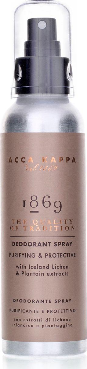 Acca Kappa Дезодорант-спрей 1869 125 млFS-00897Очищающий и защитный дезодорант с экстрактами исландского лишайника и подорожника. Он позволяет коже дышать, и в то же время надолго устраняет запах.
